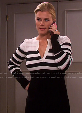 Sami's black and white striped knit dress on Days of our Lives