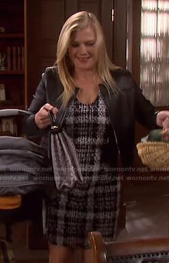 Sami's black plaid tweed dress on Days of our Lives