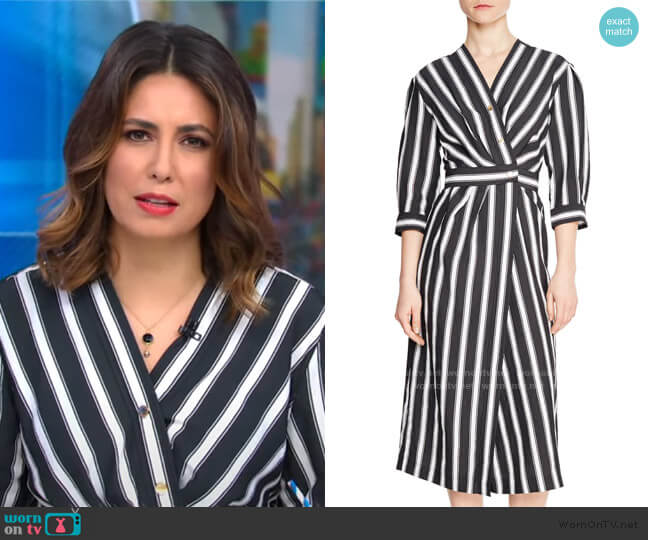 Carl Button Front Stripe Midi Dress by Sandro worn by Cecilia Vega  on Good Morning America