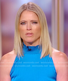 Sara's blue pleated smock neck dress on The View