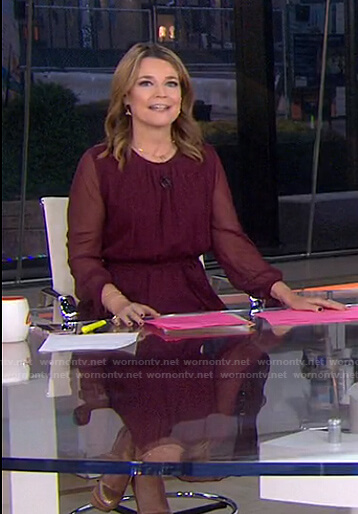 Savannah's burgundy sheer-sleeve dress on Today
