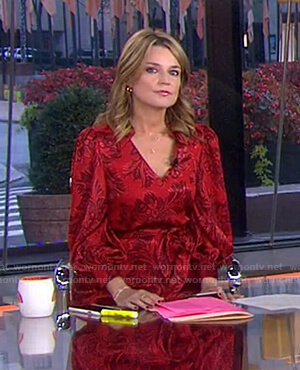 Savannah's red floral v-neck dress on Today