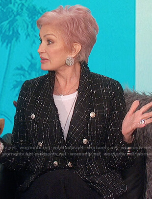 Sharon's black tweed double breasted blazer on The Talk