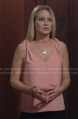 Sharon's pink v-neck tank top on The Young and the Restless