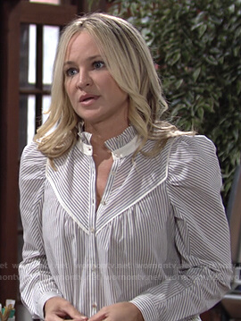 Sharon's striped puff sleeve blouse on The Young and the Restless
