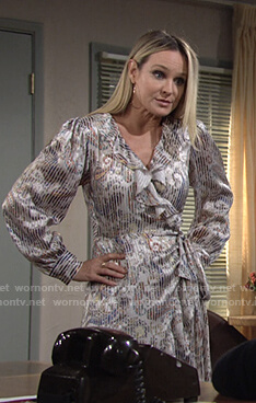 Sharon's white paisley print ruffle wrap dress on The Young and the Restless