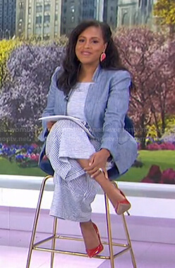 Sheinelle's blue striped jumpsuit and blazer on Today