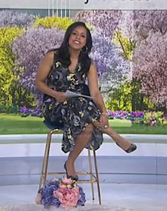 Sheinelle's black floral sleeveless dress on Today