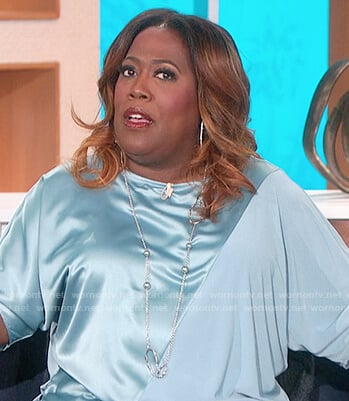Sheryl's blue mixed satin top on The Talk