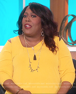 Sheryl's yellow cold shoulder top on The Talk