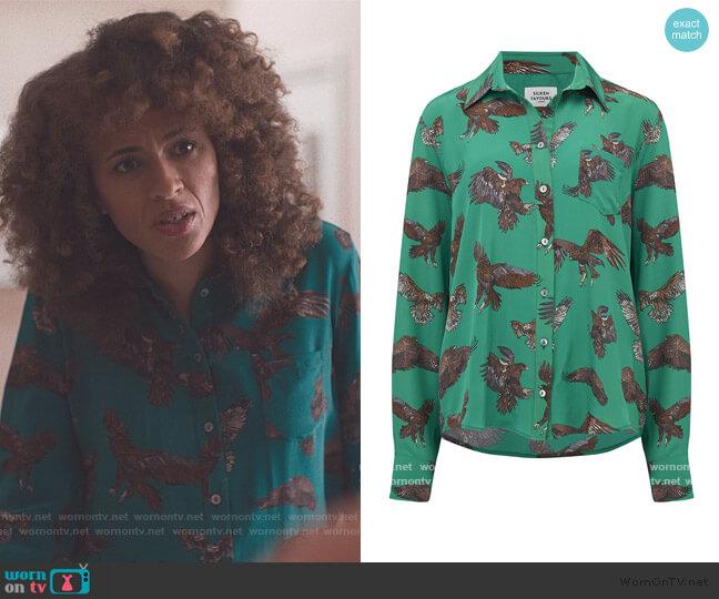 Eagle Shirt in Green by Silken Favours worn by Bev (Michelle de Swarte) on The Duchess
