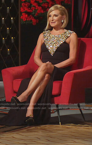 Sonja's black crystal embellished dress on The Real Housewives of New York City