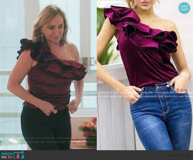 Ruffle Off Shoulder Top by Sonja worn by Sonja Morgan  on The Real Housewives of New York City