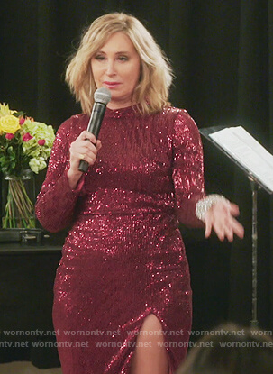 Sonja's red sequin maxi dress on The Real Housewives of New York City