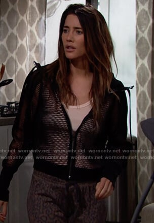 Steffy's black mesh jacket on The Bold and the Beautiful