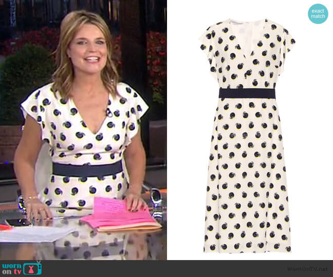 Reese Printed Cilk crepe de chine Midi Dress by Stella McCartney worn by Savannah Guthrie  on Today