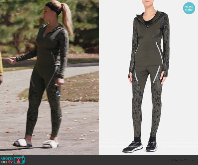 Dark Green Running Long-sleeve Hoodie and Leggings by Stella McCartney worn by Gizelle Bryant  on The Real Housewives of Potomac