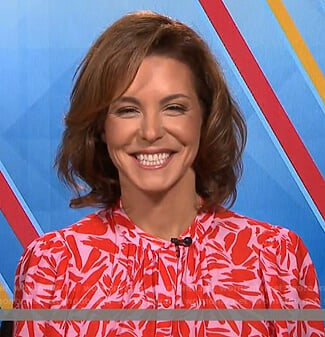 Stephanie Ruhle's pink and red printed blouse on Today