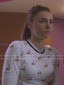 Sterling's white cherry print knit top on Teenage Bounty Hunters