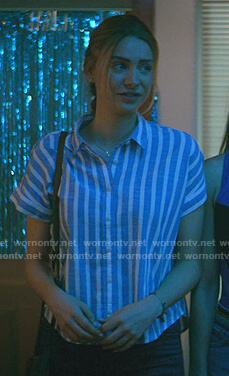 Sterling's blue striped short sleeve shirt on Teenage Bounty Hunters