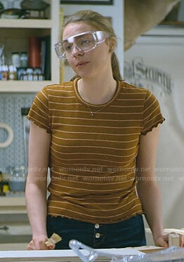Sterling's brown striped tee on Teenage Bounty Hunters