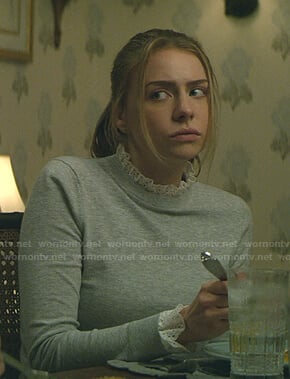 Sterling's grey ruffle neck sweater on Teenage Bounty Hunters