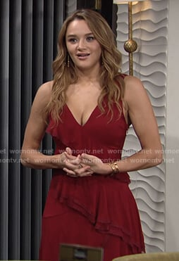 Summer's red ruffle tiered dress on The Young and the Restless