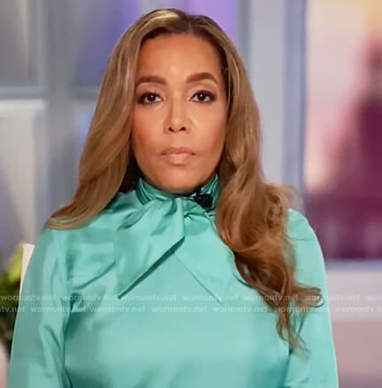 Sunny's turquoise tie neck blouse on The View