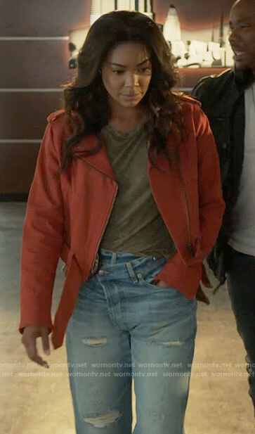 Sydney's orange cotton moto jacket and distressed jeans on LA's Finest