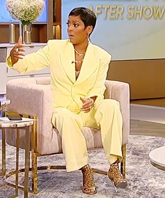 Tamron's yellow cropped blazer and pants on Tamron Hall Show