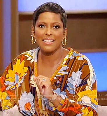 Tamron's brown floral maxi dress on Tamron Hall Show