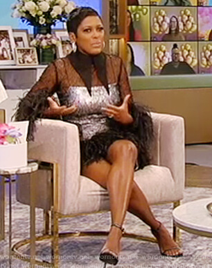 Tamron's black feather trim mini dress on Tamron Hall Show