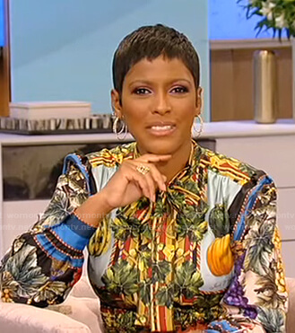 Tamron's mixed print tie neck shirtdress on Tamron Hall Show