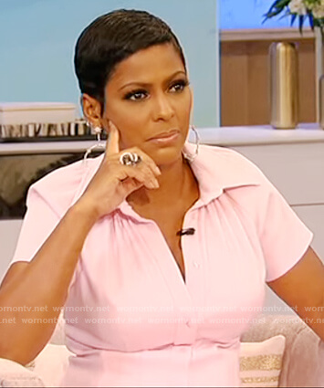 Tamron's pink shirtdress on Tamron Hall Show