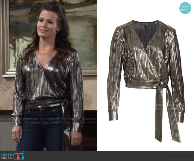 Elwiira Metallic Wrap Top by Ted Baker worn by Chelsea Lawson (Melissa Claire Egan) on The Young & the Restless