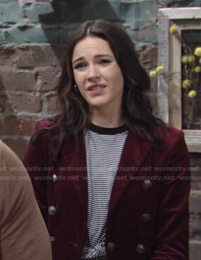 Tessa's striped tee and red velvet blazer on The Young and the Restless