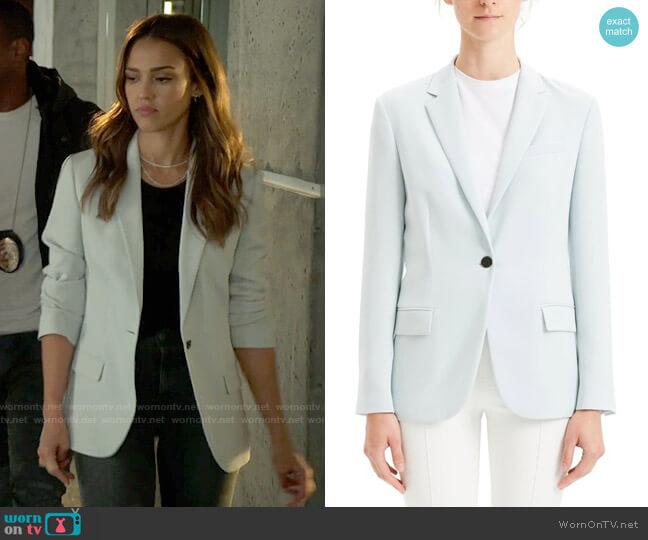 Theory Solid Notch Collar One Button Blazer worn by Nancy McKenna (Jessica Alba) on LA's Finest