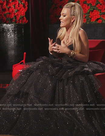 Tinsley's black ruffled gown on The Real Housewives of New York City