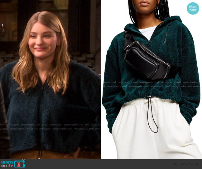 Borg Half Zip Hoodie by Topshop worn by Alice Caroline Horton (Lindsay Arnold) on Days of our Lives