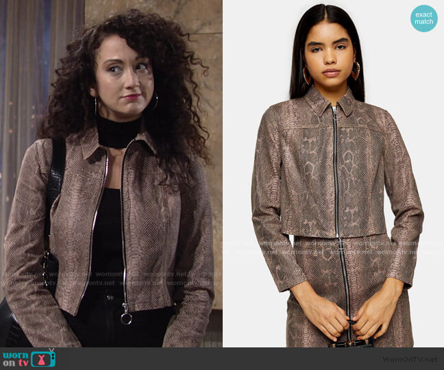 Sand Snake Print Zip Fitted Jacket by Topshop worn by Maria DiDomenico on The Young and the Restless
