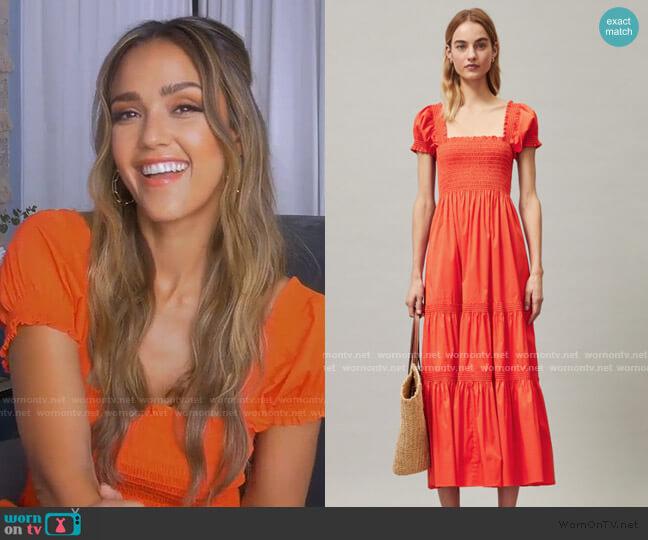 Smocked Midi Dress by Tory Burch worn by Jessica Alba on GMA