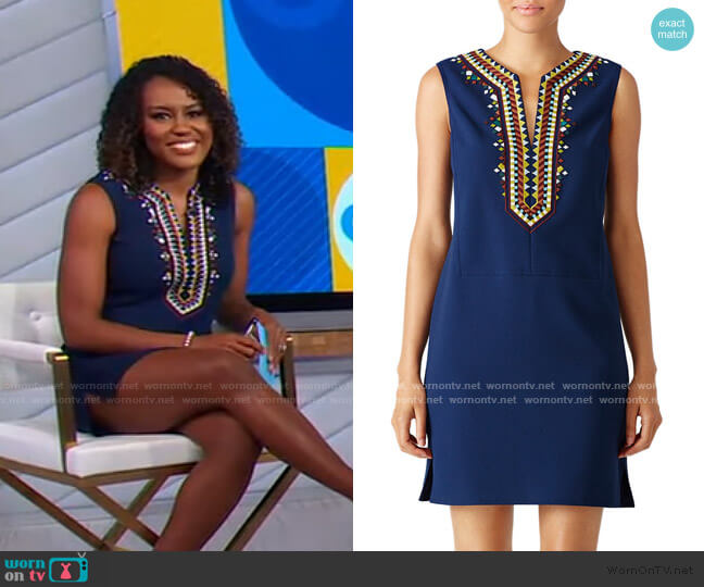Embroidered Sophia Shift Dress by Tory Burch worn by Janai Norman  on Good Morning America