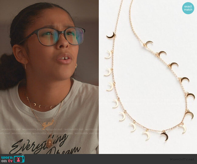 Lucky Charm Necklace by Urban Outfitters worn by Julie (Madison Reyes) on Julie & the Phantoms