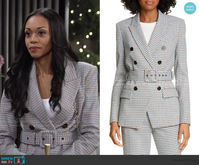 Harvey Belted Jacket by Veronica Beard worn by Amanda Sinclair (Mishael Morgan) on The Young & the Restless