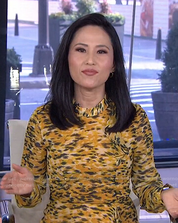 Vicky Nguyen's yellow printed ruffle dress on Today