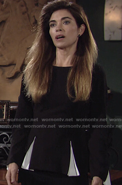 Victoria's two-tone peplum top on The Young and the Restless