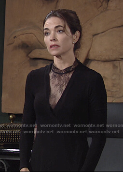 Victoria's black lace panel dress on The Young and the Restless