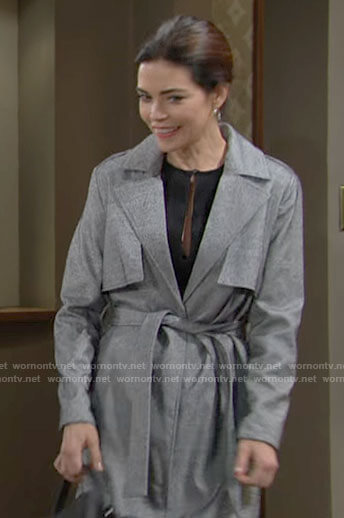 Victoria's grey trench coat on The Young and the Restless