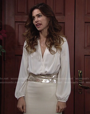 Victoria's white wrap blouse on The Young and the Restless