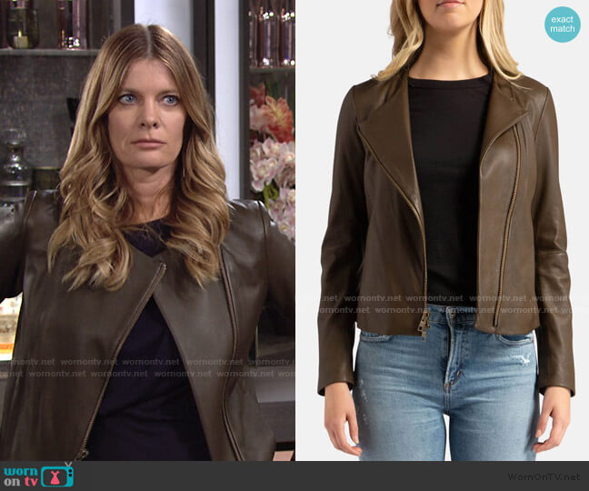 Leather Cross Front Olive Wood Jacket by Vince worn by Phyllis Summers (Michelle Stafford) on The Young & the Restless